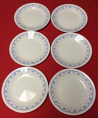 """Set of 6 CORELLE CORNING """"MORNING BLUE"""" BREAD & BUTTER PLATES -6 3/4"""""""