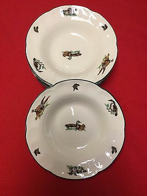 "Mint Set of 6 Johnson Brothers BROOKSHIRE ""England 1883"" Rimmed Soup Bowls-8 7/8"