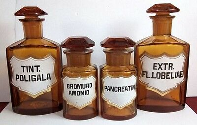 Lot Of Four Amber Crystal Pharmacy Bottles - Gold Frame Enamel. Vintage  Antique