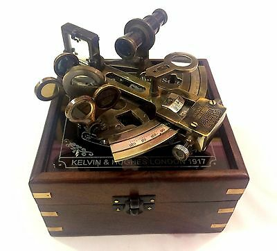"4"" Kelvin N Hughes Antique Brass Maritime Sextant Ship Sextant In Wooden Box"