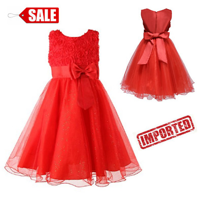 Little Girls Flower Formal Wedding Dress Birthday Party Kids Pageant Gown Red