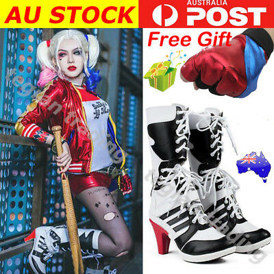 Harley Quinn Boots Suicide Squad Shoes High Heels DC Comics Halloween Costume