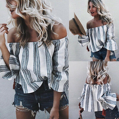 Casual Strip Shirt Sexy Tops Long Sleeve Off Shoulder Loose Blouse Fashion Women