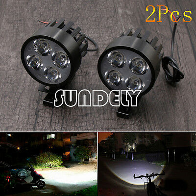 Black 2Pcs Motorcycle 4LED Fog Spot Motorbike Front Headlight Light Lamp 12-85V