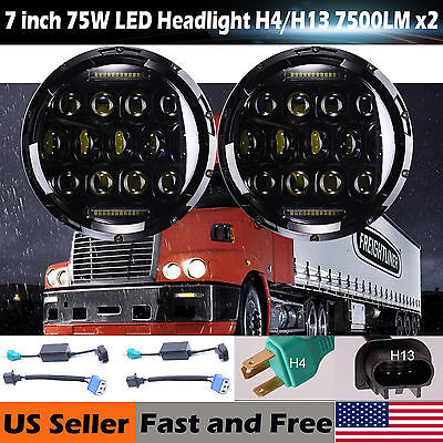 2Pcs 7inch LED Projector Headlight H4 H13 For Freightliner Century Pre 2005Model