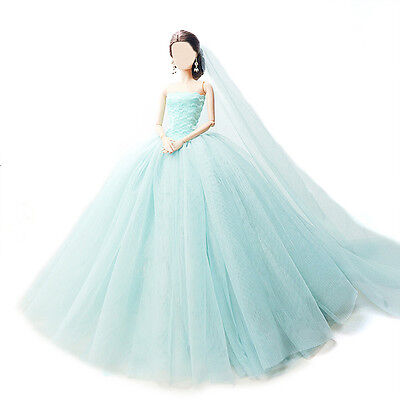 Fashion Handmade Princess Dress Wedding Clothes Gown+veil for Barbie Doll Blue