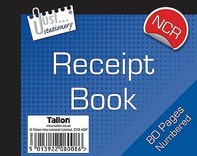 Half Size Duplicate Receipt Book Numbered Cash 1 -80 NO CARBON REQD (loc.D23)