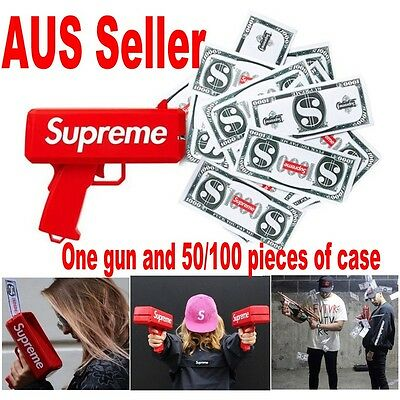 Supreme Money Gun Cash Cannon Money SS17 50/100 Papers Tricky Toy Gift AUS Stock