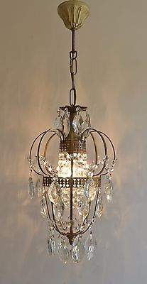 Vintage Cage Style Brass & Crystals Lantern Chandelier Antique Ceiling Lamp