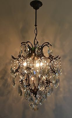 Antique Cage Style Vintage Brass & Crystals Chandelier Lantern Ceiling Lamp