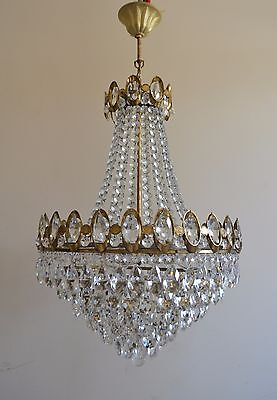 Very Nice French Basket Style Vintage Brass & Crystals Chandelier Antique Lamp