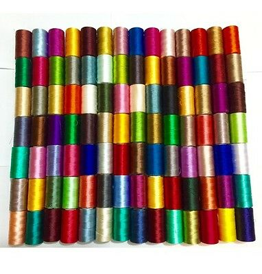 75 Large Silk / Rayon 100% Embroidery Machine Thread Strong Spools Solid Colour