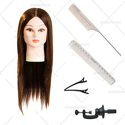 90% Real Hair 22 Inch Hairdressing Training Head Cutting Comb Pin Tail Comb Set