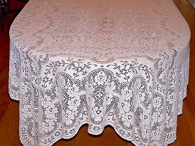 BEAUTIFUL VINTAGE QUAKER LACE TABLECLOTH, ROSE FLORAL DESIGN, QUAKER LOOP c1940