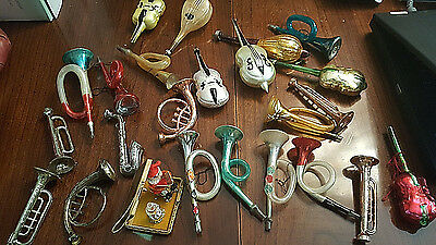 Mixed Lot Old Vintage Musical Instruments Mercury Glass Christmas Tree Ornaments