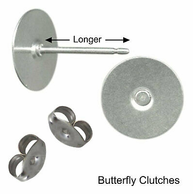 100 Earring 10mm Pad LONGER Stud Posts & backs Hypoallergenic Surgical Steel USA