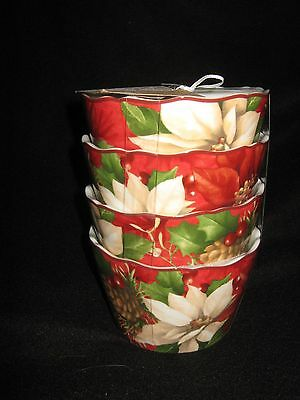 222 Fifth Poinsettia Holly Dessert / Appetizer Bowls - Set Of 8 - New