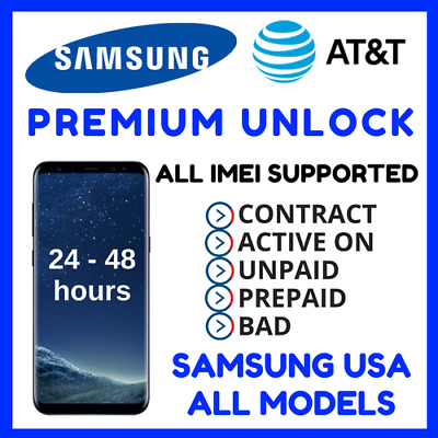 Unlock Code Service For At&t Samsung Galaxy S8 S8+ S7 S6 Note 5 4 Active & Edge