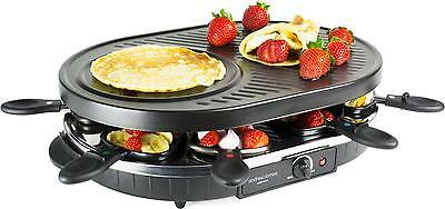Andrew James Traditional Swiss Raclette Grill 8 Person Non Stick Indoor BBQ