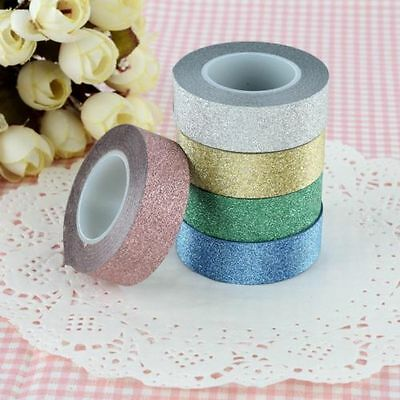 Glitter Self Adhesive Tape Stick On Craft Decorative Gift Wrap DIY-XMas 10m
