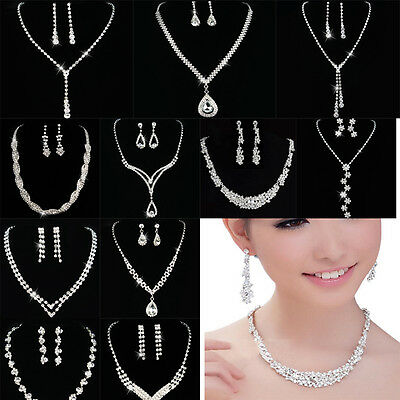 Crystal Women Bridal Bridesmaid Necklace Earrings Set For Wedding Jewelry Sets