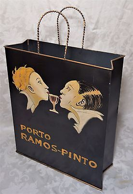 Vintage Mid Century Modern Brass Shopping Bag Magazine Holder Hand Painted Wine