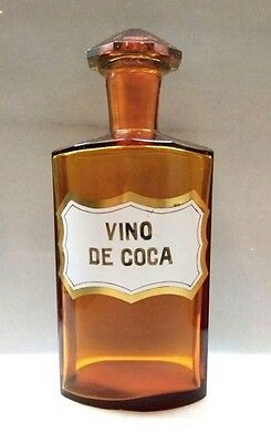"Nice Old Cocaine Amber Pharmacy Bottle ""vino De Coca""10'' Poison"