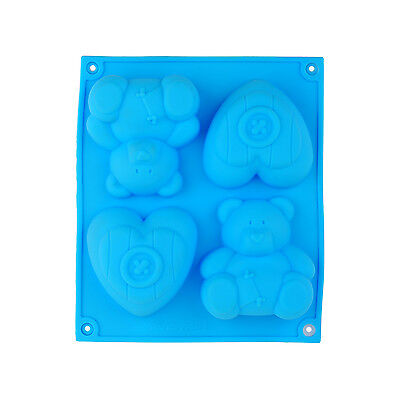 Bear Heart Cupcake Chocolate Soap Muffin Pudding Silicone Mould Pan Kids Gift