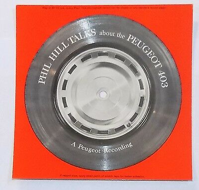 PHIL HILL TALKS ABOUT THE PEUGEOT 403 car advertising promo pic disc record 1959