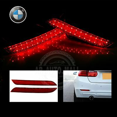 BMW 3 4 Series LED Rear Bumper Reflector Tail Stop Signal Reverse Light Red Lens