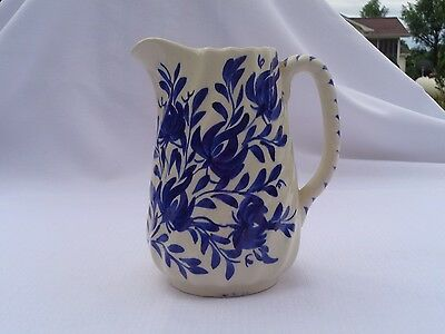 Clinchfield Artware Floral Pattern Blue and White Pitcher Hand Painted Cash fam
