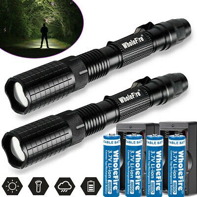Tactical Police 350000Lumen T6 5Modes LED Flashlight Aluminum Torch Zoomable USA