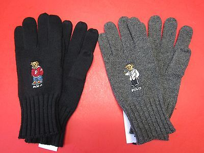 Nwt Polo Ralph Lauren Collectible Teddy Bear Gloves, Black / Charcoal, One Size