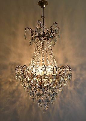 Antique Spider Style Cast Brass & Crystals HUGE Chandelier from 1950's