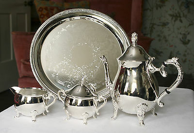 A Stunning Recent Silver Plated Three Piece Tea Set on Original Tray