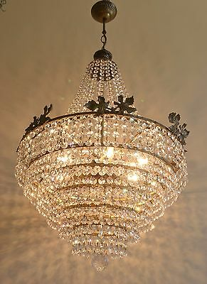 Real Vintage French Basket Style Brass & Crystals Chandelier Antique Lamp Leaves