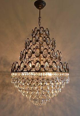 Huge 3 Tier French Basket Style Vintage Brass Crystals Chandelier Antique Lamp