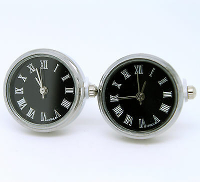 Black and Silver Coloured Working Watch Cufflinks
