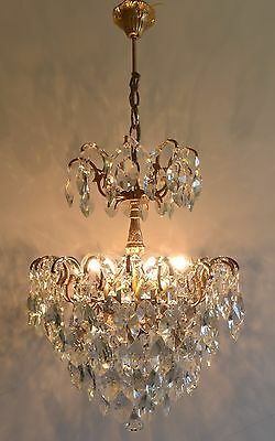 Real Barn Find Spider Style Vintage Brass & Crystals Chandelier Antique Lamp