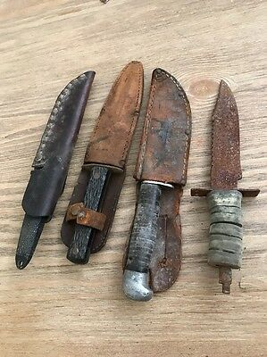Vintage Lot Of 4 Knives With Sheaths Imperial Prov. R.I. U.S.A Hunting Unnamed!