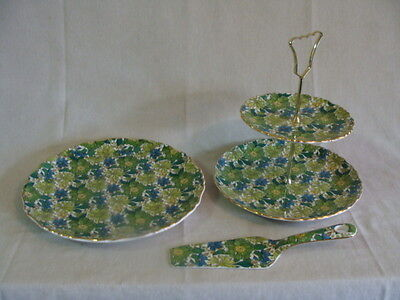 James kent Ltd Old Foley Liberty of London  Cake Plate W/Spatula & 2 Tier Tray
