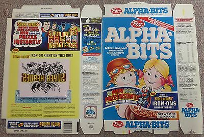 "Rare POST  ""ALPHA-BITS"" Cereal FLAT with Super Heroes Iron on transfer on back"