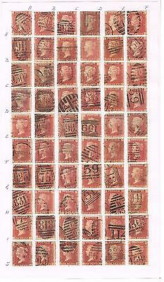 SG 43 penny red plate 170 full reconstruction of 240 stamps AA to TL