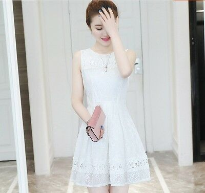 9246730761 Trendy Sweet Sleeveless Korean Fashion Floral A-line Slim Summer Lace Vest  Dress