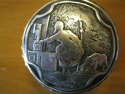 French sterling silver Raoul Bernard pill patch trinket or snuff box.