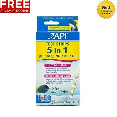 API 5-IN-1 TEST STRIPS FRESHWATER AND SALTWATER AQUARIUM TEST STRIPS 25-Count