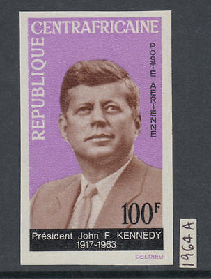 XG-AA242 CENTRAL AFRICAN - Kennedy, 1964 In Memory, Airmail, Imperf. MNH Set