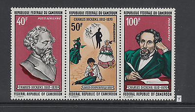XG-AB062 CAMEROON IND - Charles Dickens, 1970 3 Values Strip MNH Set