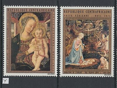 XG-AB051 CENTRAL AFRICAN - Paintings, 1972 Christmas, 2 Values MNH Set