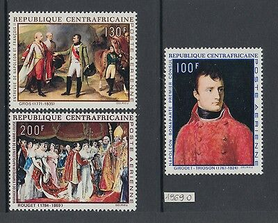 XG-AB021 CENTRAL AFRICAN - Napoleon, 1969 Paintings, 3 Values MNH Set